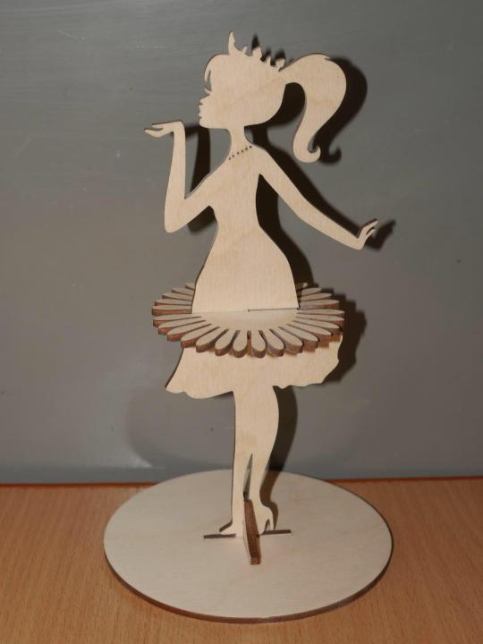 Laser Cut Girl Dancing Napkin Holder Free Vector