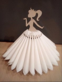 Laser Cut Girl Dancing Napkin Holder Free Vector