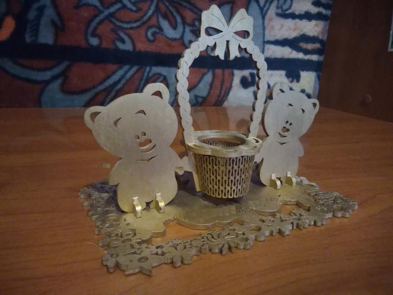 Laser Cut Womens Day Decoration Bear 3D Model Free Vector