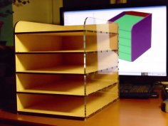 Laser Cut Desktop Filing Rack DXF File