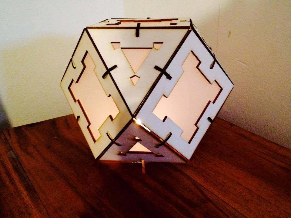 Laser Cut Wooden Cuboctahedron Lamp Free Vector
