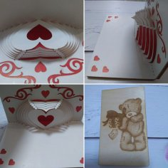 Laser Cut Paper 3D Folding Heart Greeting Card Free Vector