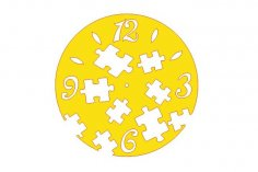 Laser Cut Kids Room Wall Clock with Puzzle Template Free Vector