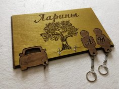 Wooden Decor Key Holder With Keychains For Couple Laser Cut Template DXF File