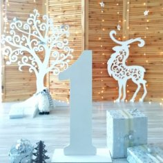 Laser Cut Christmas Deer Decoration Template Free Vector