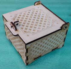 Laser Cut Engraved Box with Lid and Lock Free Vector