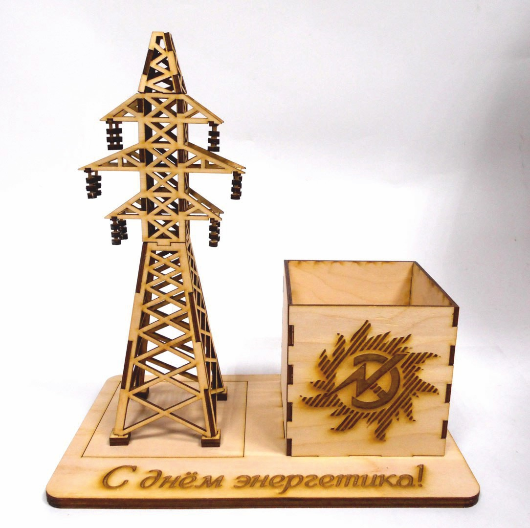 Laser Cut Electricity Tower Pencil Holder Desk Organizer DXF File