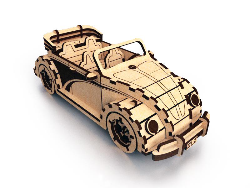 Laser Cut Volkswagen Fusca Beetle Convertible 3D Puzzle DXF File