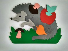Laser Cut Hedgehog Jigsaw Puzzle Game For Kids Free Vector