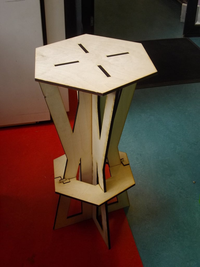 Laser Cut Assembly Stool 9mm Plywood DXF File