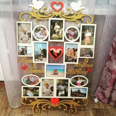 Laser Cut Wedding Photo Frame Template Free Vector