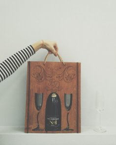 Laser Cut Bottle Carrier Gift Holder Free Vector