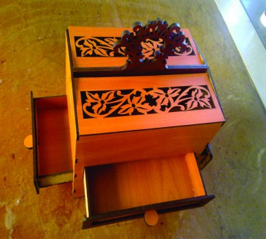 Laser Cut Fancy Box with Drawers PDF File