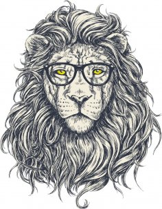 Hipster Lion Print Free Vector