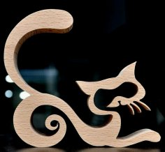Laser Cut Cat Decoration Template CNC Router Free Vector