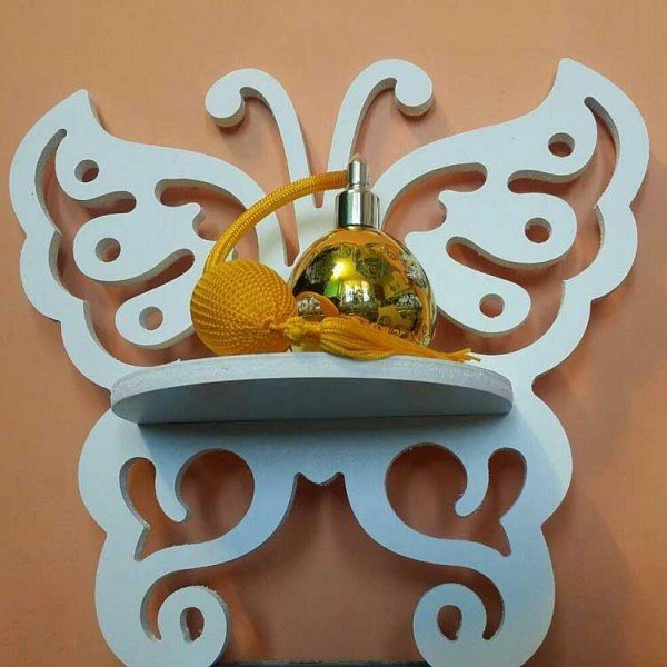 Laser Cut Butterfly Wall Shelf Rack Template Free Vector