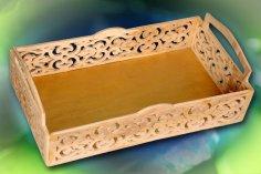 Laser Cut Decorative Wood Arabesque Tray Free Vector