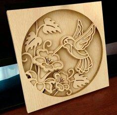 Laser Cut Hummingbird Layered Wood Art Free Vector