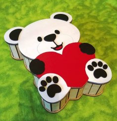 Laser Cut Bear Shaped Gift Box Teddy Bear Candy Box Free Vector