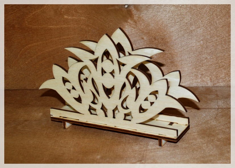 Laser Cut Decorative Tabletop Standing Napkin Holder 4mm Free Vector