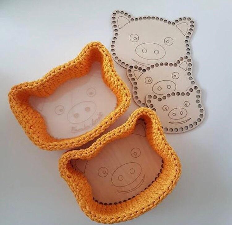 Laser Cut Basket Base Pig Patterned Wooden Crochet Blank Kit Free Vector