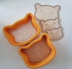 Laser Cut Basket Base Pig Patterned Wooden Crochet Blank Kit Free Vector