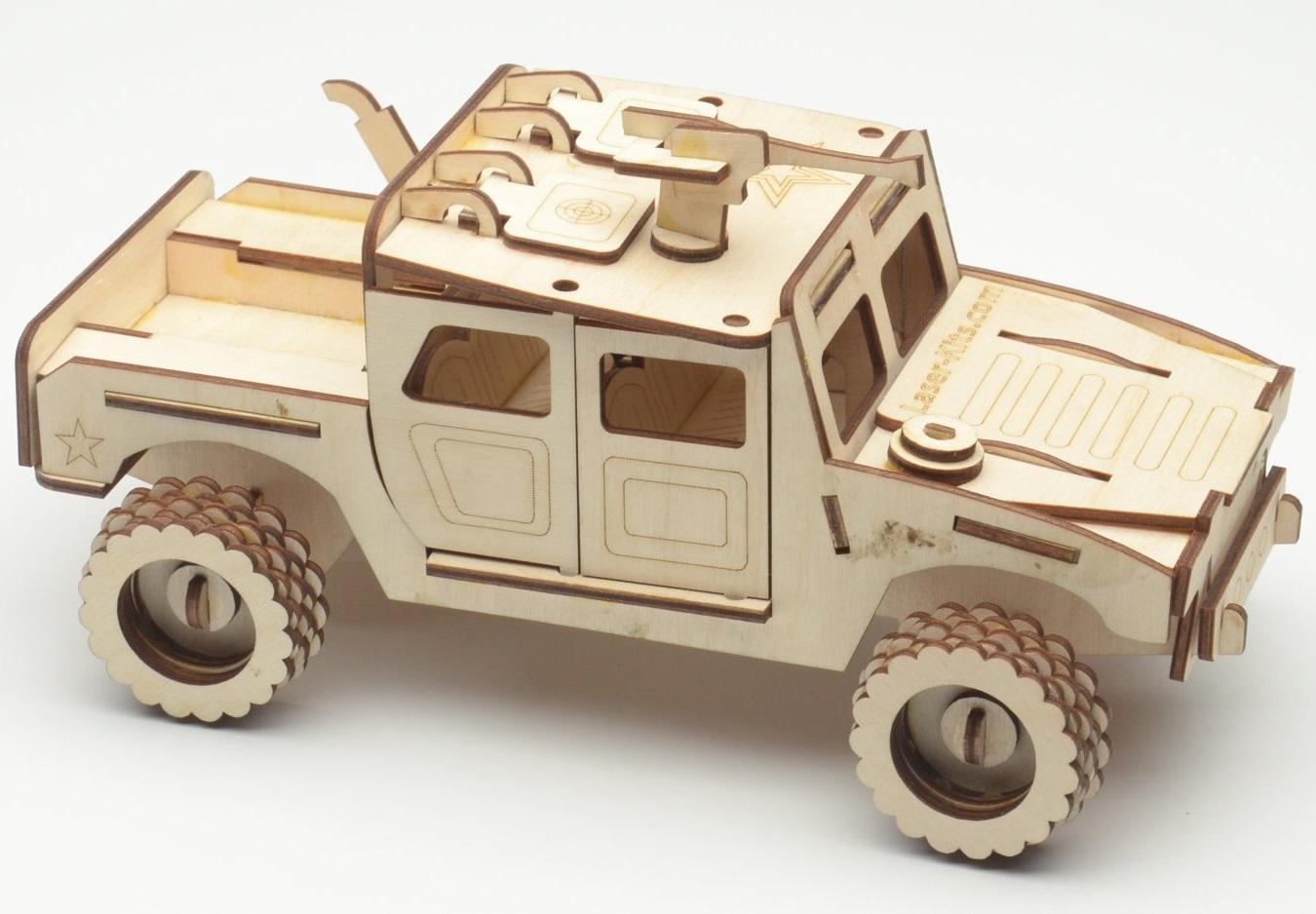 Laser Cut Wooden Humvee Hummer Free Vector