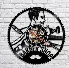 Laser Cut Barbershop Vinyl Record Wall Clock Barber Shop Decor DXF File