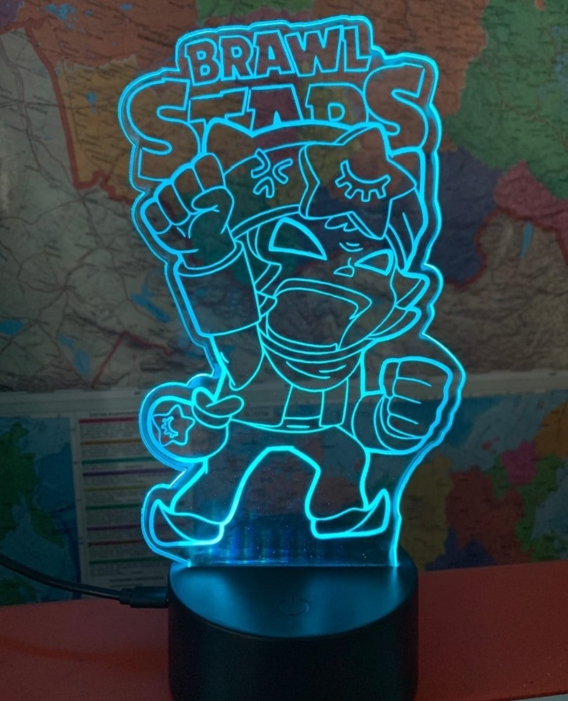 Laser Cut Brawl Stars Nightlight 3D Illusion Lamp Free Vector
