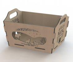 Laser Cut Wooden Storage Basket Box DXF File