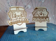 Laser Cut Soccer Phone Stand DWG File
