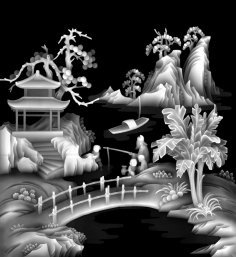 Grayscale Wood Carving Image BMP File