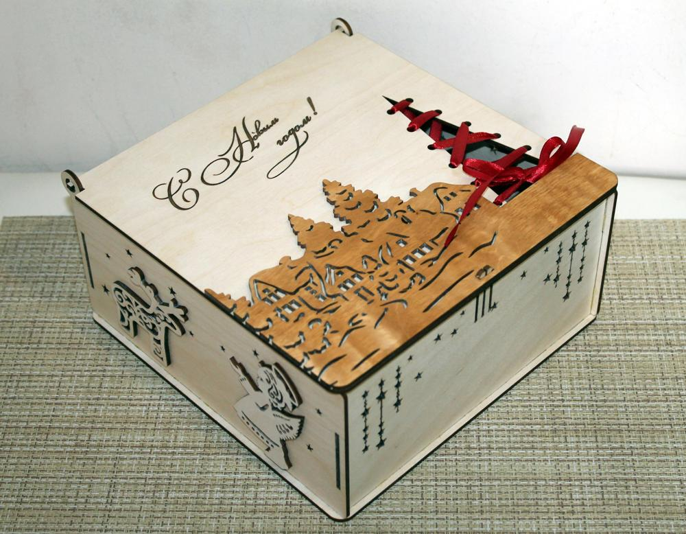 Laser Cut Christmas Box Free Vector