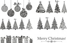 Merry Christmas Set Free Vector