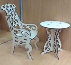 Laser Cut Dollhouse Chair Wooden Doll Furniture Free Vector