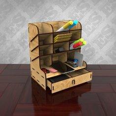 Laser Cut Wooden Desk Organizer With Drawers Pen Holder Storage Box Free Vector