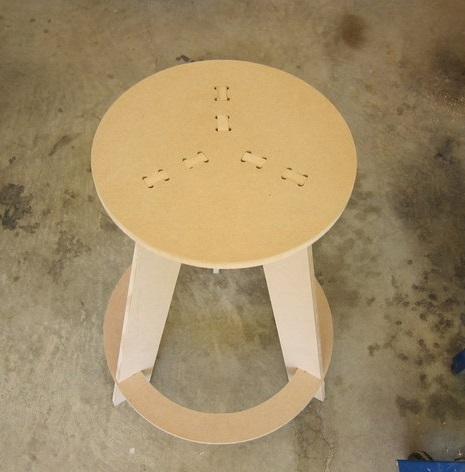 Laser Cut Wooden Stool With Round Seat DXF File