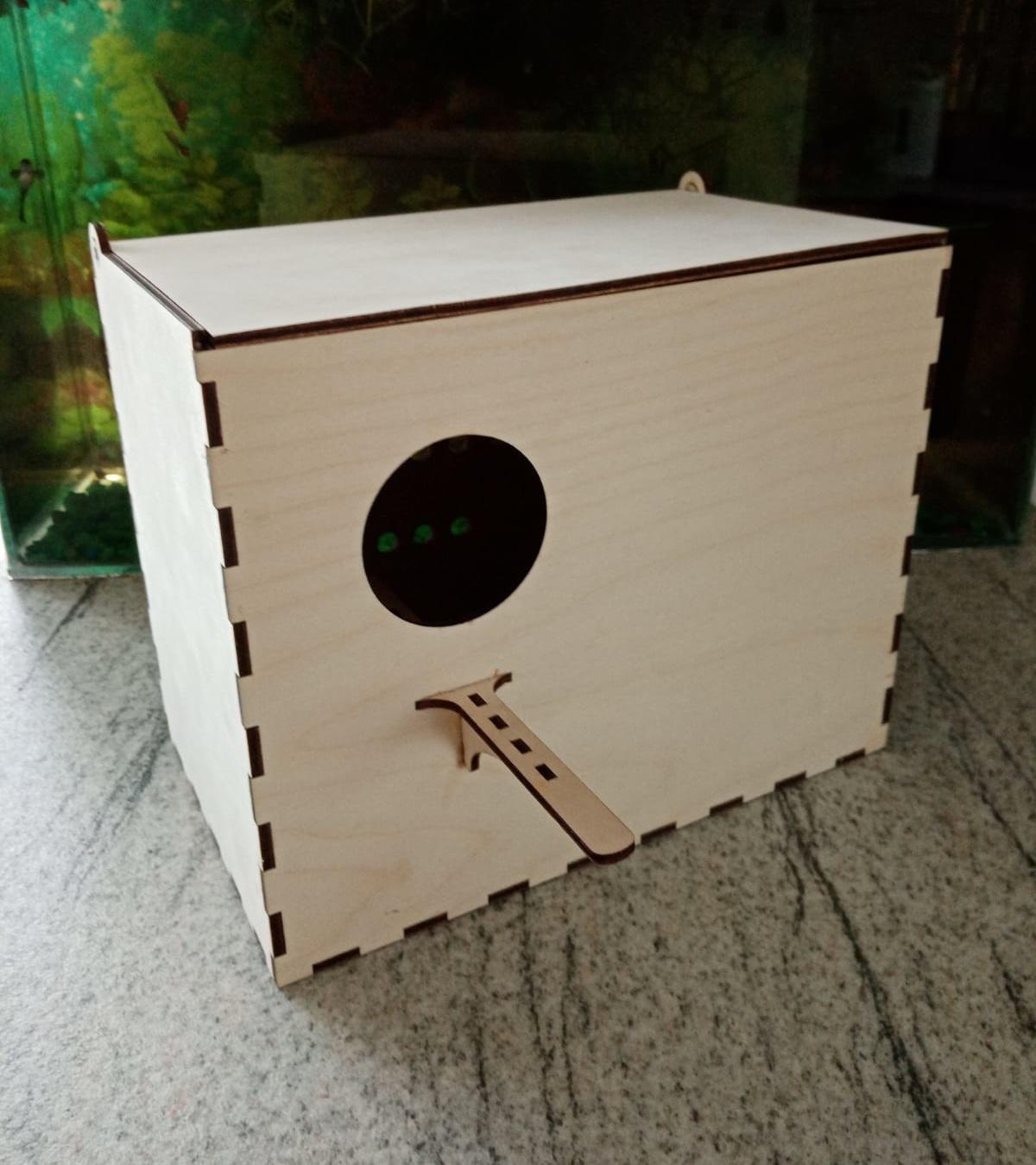 Laser Cut Bird Parrot Budgie Nest Breeding Box Free Vector