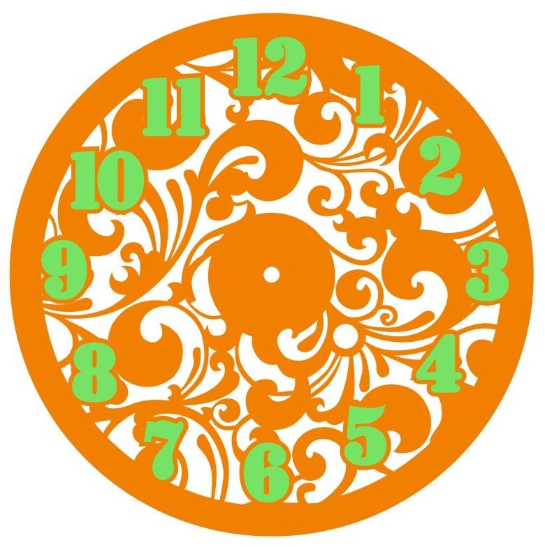 Laser Cut Decorative Floral Wall Clock Free Vector