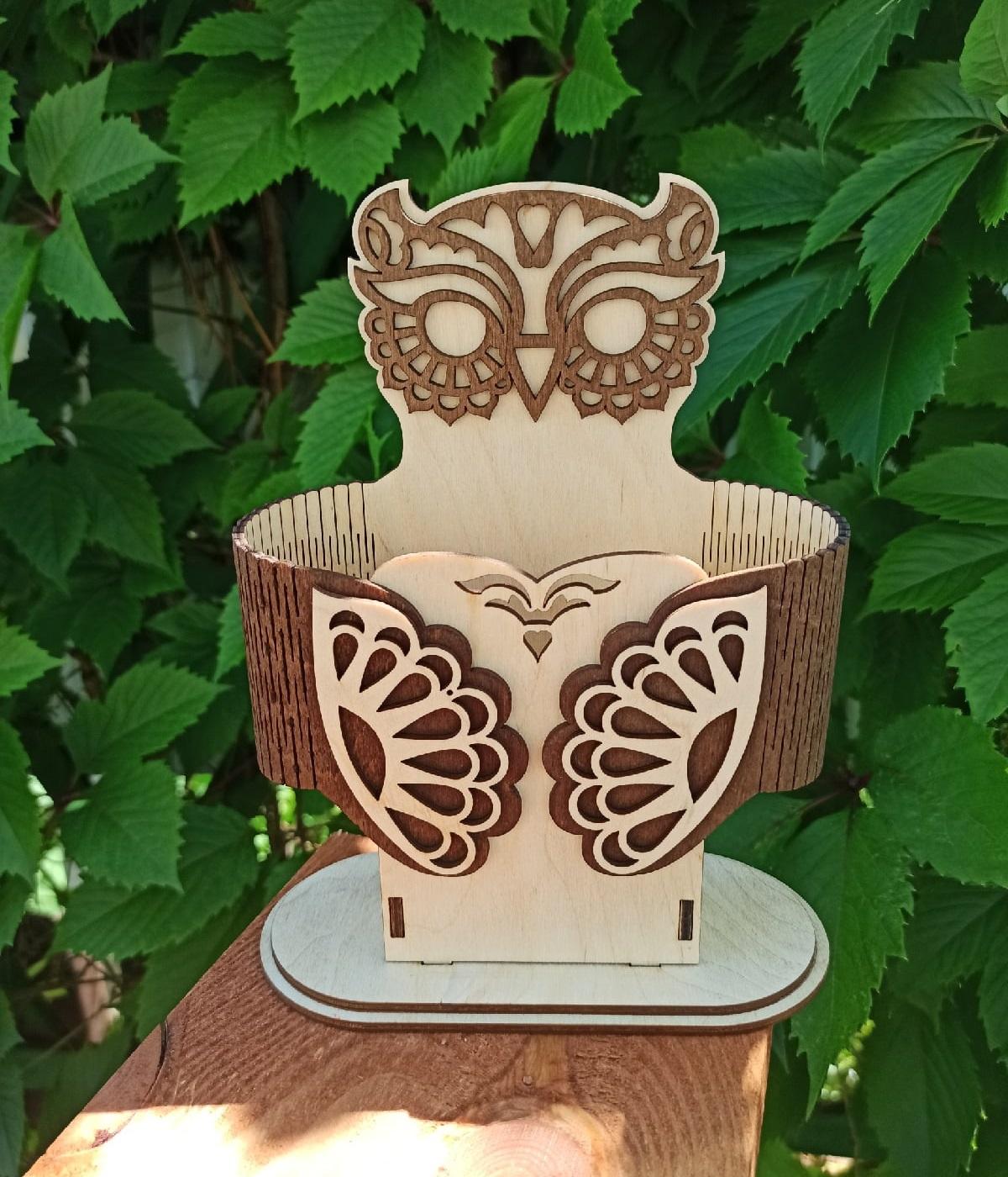Laser Cut Owl Pen Holder Desk Organizer Free Vector