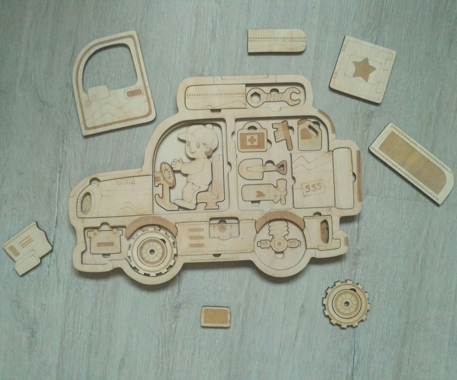 Laser Cut Jeep Kids Learning Puzzle Free Vector