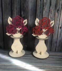 Laser Cut Flower Napkin Holder Free Vector