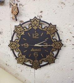 Laser Cut Decor Wooden Wall Clock DXF File
