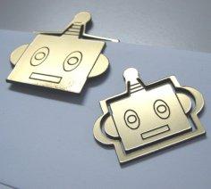 Laser Cut Robot Head Paper Clip Bookmark Clip SVG File