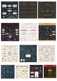 Vintage Signs and Banners and Frames Free Vector