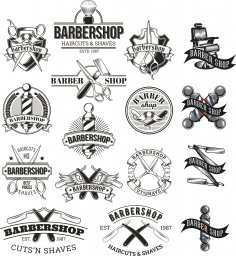 Barbershop Logo Set Free Vector