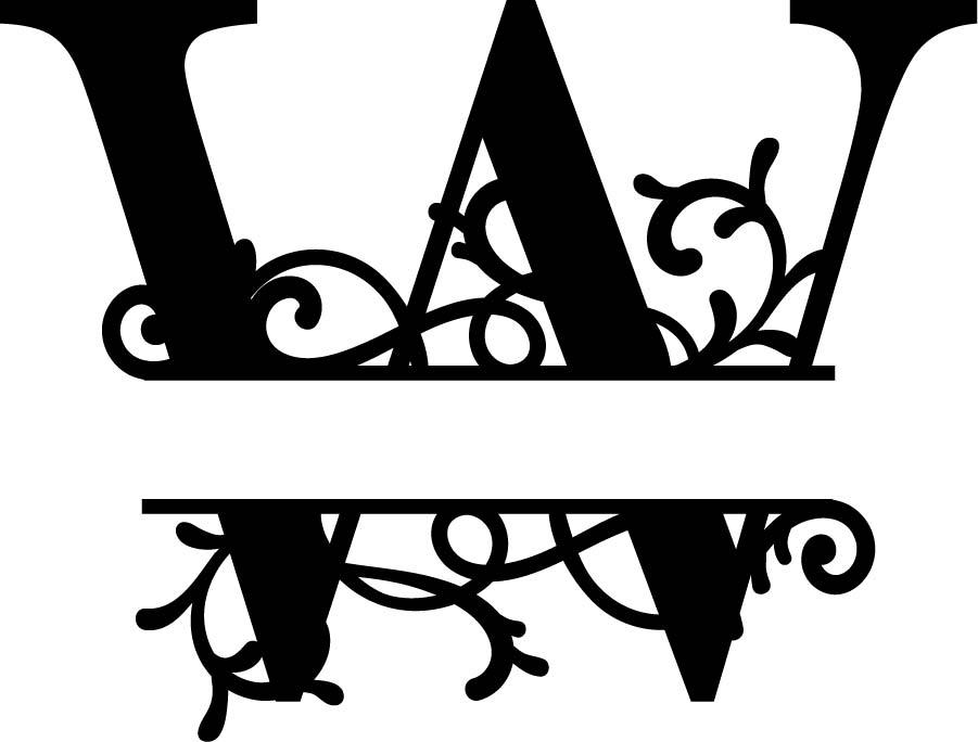 Split Monogram Letter W DXF File