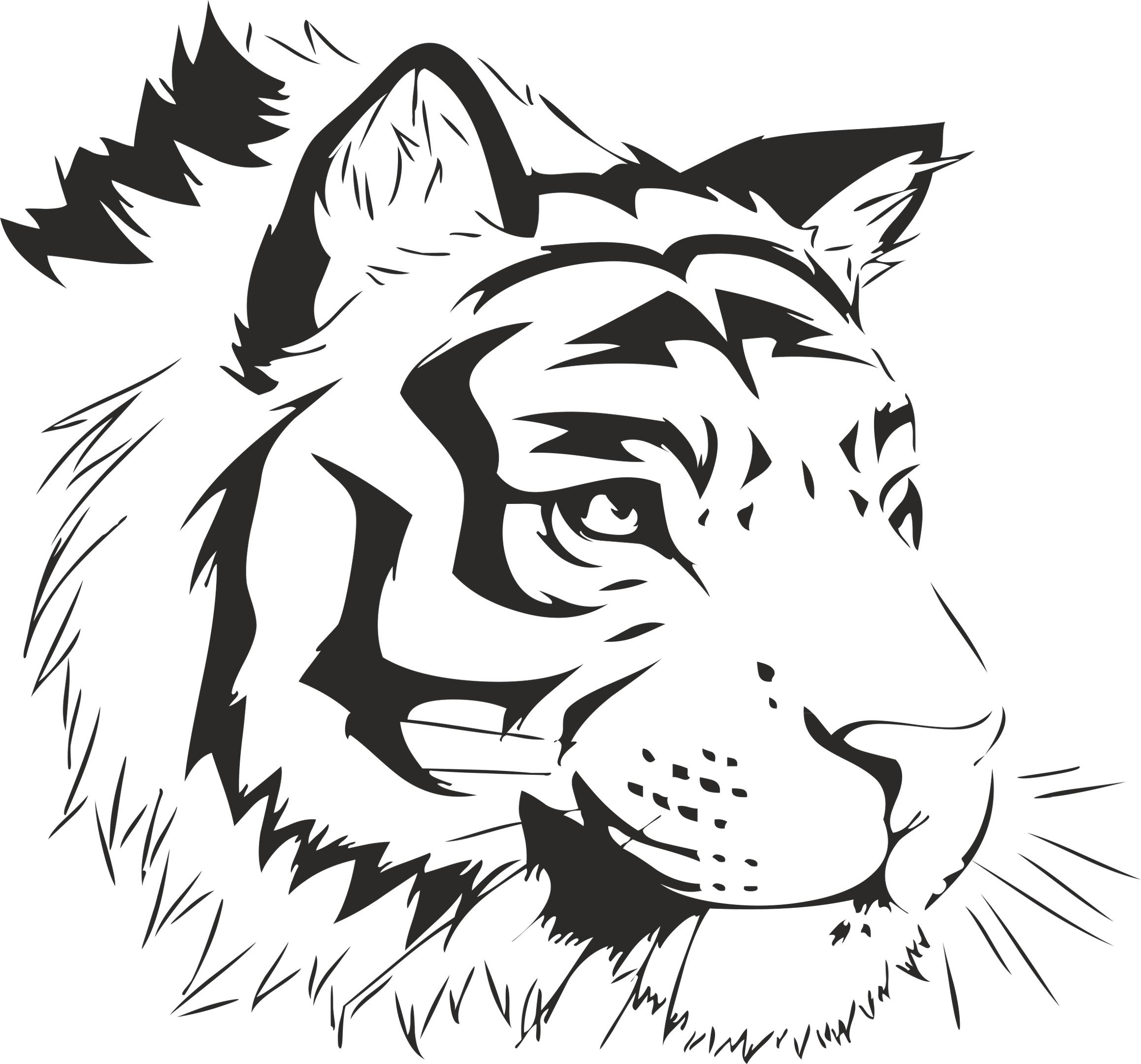 Tiger Stencil Sticker Free Vector