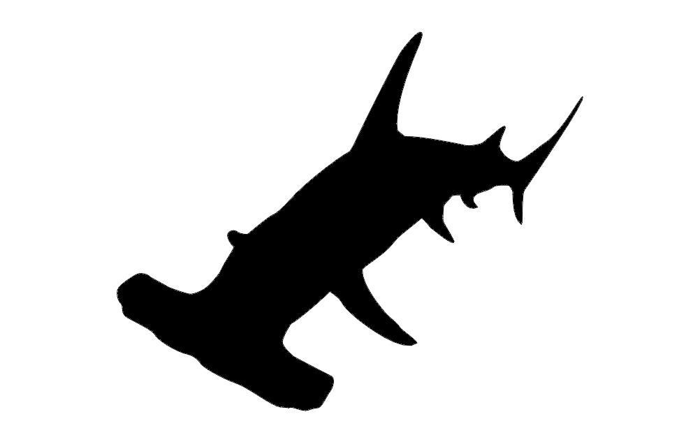 Hammer Head Shark Silhouette dxf File