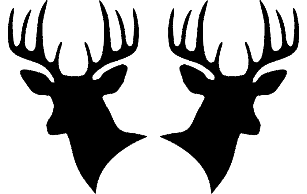 Two Deer Heads Silhouette Dxf File Free Download 3axis Co